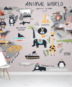 Grey Animal Map wallpaper mural
