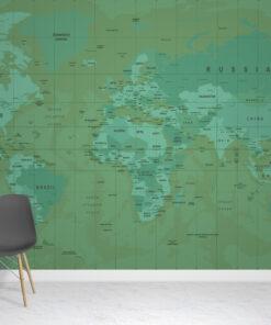 Green Atlas Wallpaper Mural