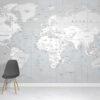 Monotones World Map Wallpaper Mural