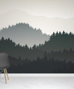 Tree Mountains Wallpaper mural
