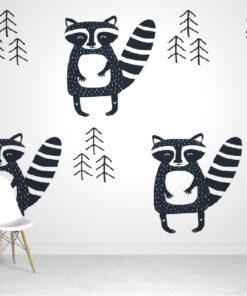 Scandinavian Raccoon wallpaper mural