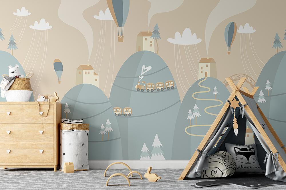 hills-houses kids wallpaper mural