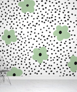 Scandinavian Rainbows & Polka Dots Wallpaper