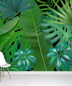 Complex Tropical Leaves Wallpaper