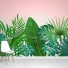 Tropical Leaves Pink Wallpaper