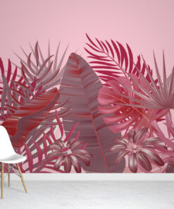 We love this Red Tropical Wallpaper Mural with its bold pink background that sets the scene for red tropical leaves in multiple shades,