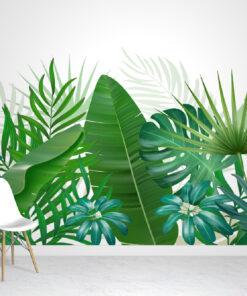 Tropical Leaves White Wallpaper