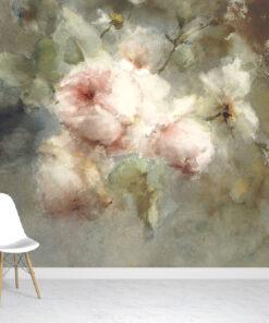 Painted flowers wallpaper