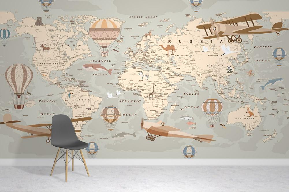 Explorer World Map Wallpaper Mural