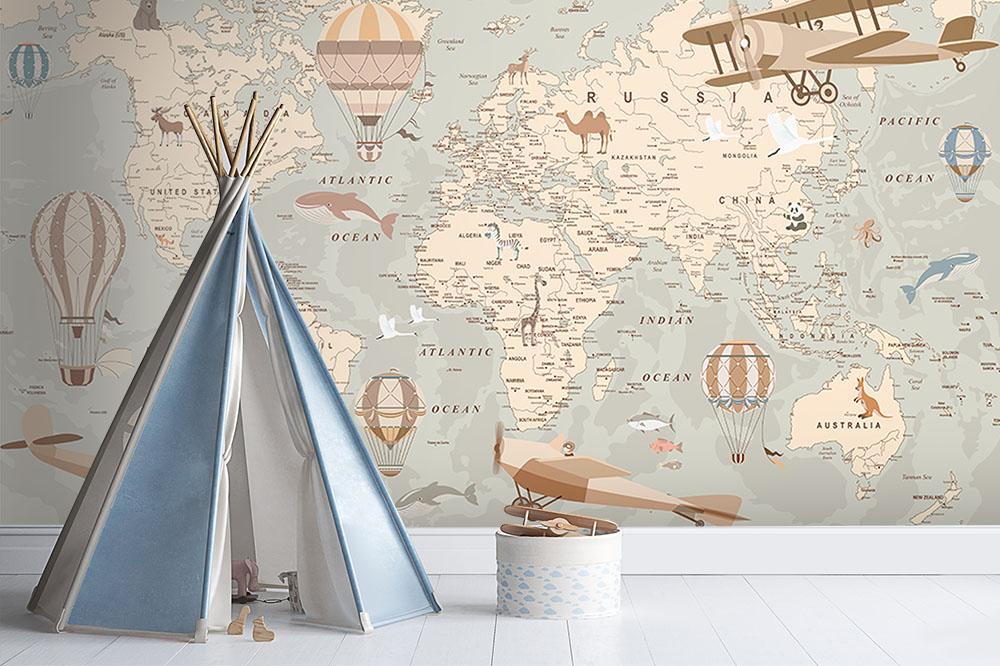 Explorer World Map Wallpaper Mural Lifestyle