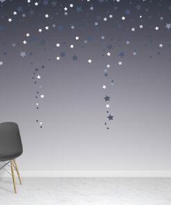 Ombre Blue Stars Wallpaper Mural