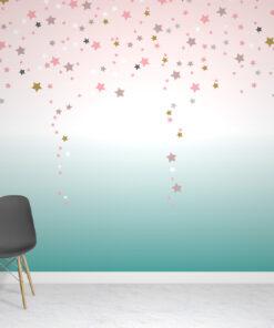 Ombre Teal Stars Wallpaper Mural