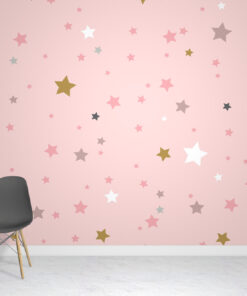 Pink Stars Wallpaper Mural