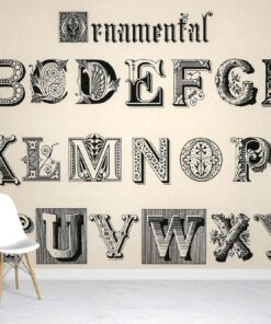 Vintage Alphabet Wallpaper Mural