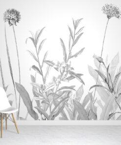Botanical greyscale wallpaper mural