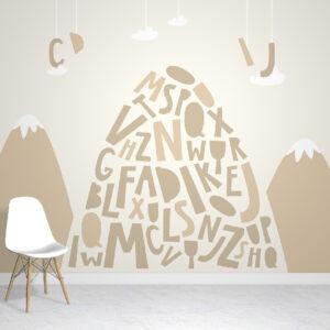 alphabet mountains wallpaper mural