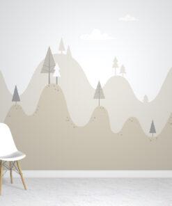 scandi mountains wallpaper mural