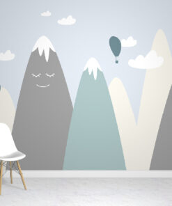 happy mountains wallpaper mural