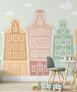 townhouses wallpaper mural
