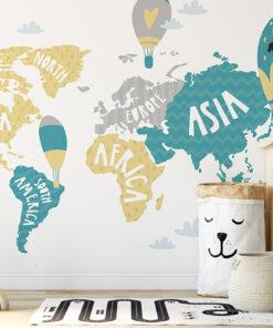 Continents World Map wallpaper mural